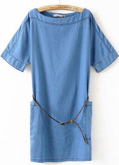 Blue Boat Neck Short Sleeve Pockets Denim Dress