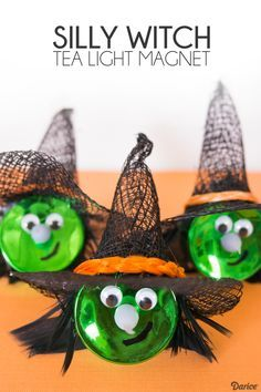 These easy Halloween Witch Tea Light Magnets are super easy to make with friends or kids! Inexpensive enough to give one to everyone this Halloween!