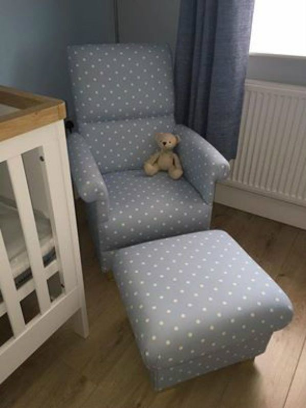 It has a wooden frame and has a Schedule 3 fire retardant interliner, which makes it compliant with UK fire regulations. It is then upholstered entirely with this lovely fabric, and has solid wooden feet.   eBay!