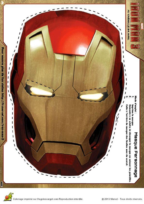 159 best coloriages super h ros images on pinterest - Masque iron man adulte ...