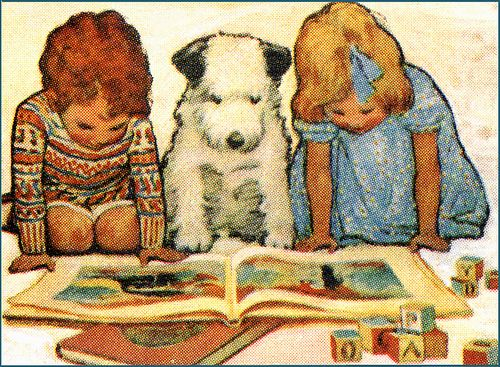 vintage children's book illustration - famous image of 2 kids and a dog reading a childs book: Art Illustrations, Dogs, Vintage Illustrations, Kids Books, Books Illustrations, Vintage Kids, Children Books, Good Books, Kids Reading