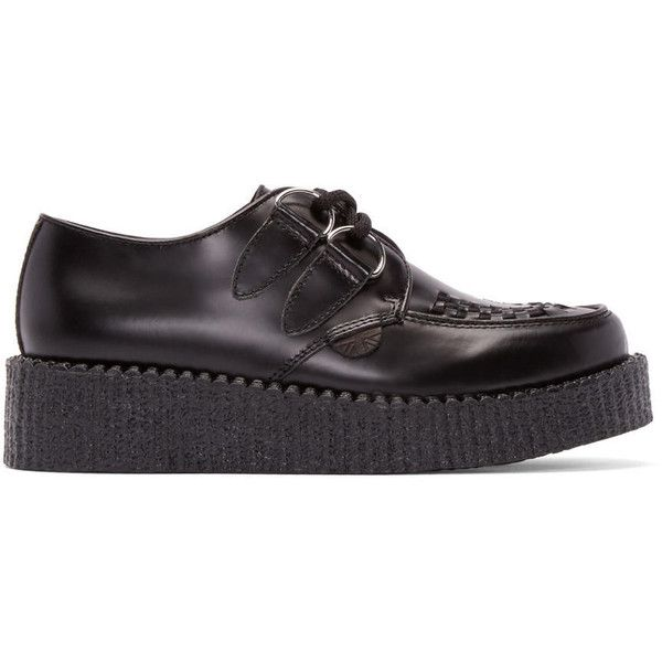 Underground Black Leather Wulfrun Creepers (3,305 MXN) ❤ liked on Polyvore featuring shoes, black, underground shoes, kohl shoes, genuine leather shoes, laced up shoes and black creeper shoes