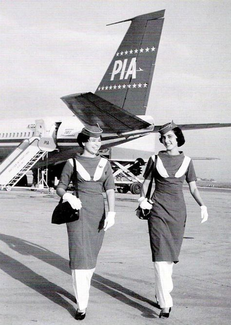 This photograph shows air-hostesses of Pakistani airline, PIA, on the runway of the Karachi airport in 1965. Pakistan did not have a national airline until 1955. In 1955, Orient Airways, a private airline, was nationalised and renamed Pakistan International Airline.