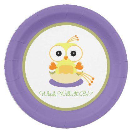 It's a Boy Cartoon Bird Gender Reveal Baby Shower Paper Plate - boy gifts gift ideas diy unique