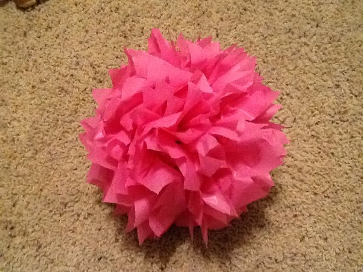 Pompom or flowers ball made from a PLASTIC TABLECLOTH!! I ...
