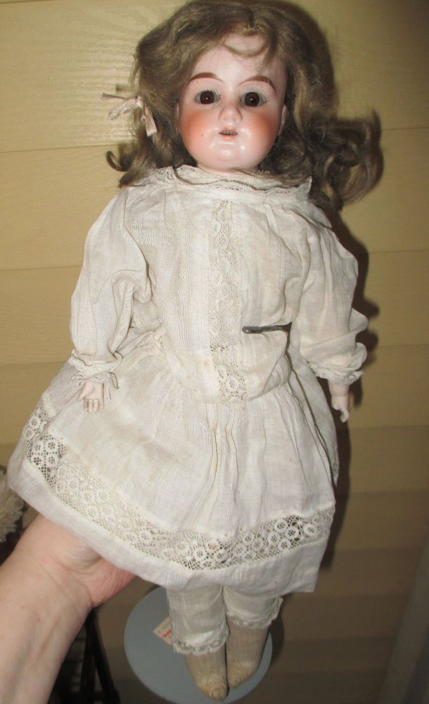 """Antique 16"""" Armand Marseille German Bisque Lilly Doll with Leather Body Dressed 