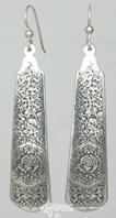 by Neil Hunt: nrhunt studios Sterling Silver Earrings, Long 'Rose & Scroll 1'