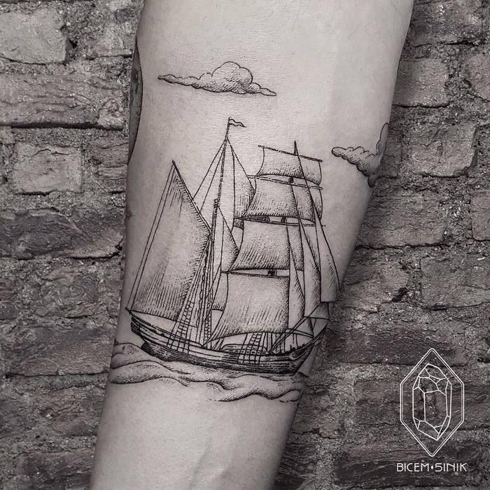 Splendid Ship Tattoo by bicemsinik