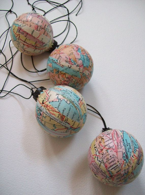 It's a Small World /Decoupage Vintage Map Ornaments / Blue Pink Yellow