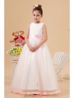 Organza Jewel Ankle-Length A-Line Flower Girl Dress with Embroidered