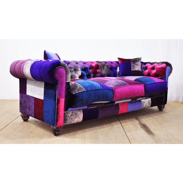 Chesterfield Patchwork Sofa Purple Love ($3,950) ❤ liked on Polyvore featuring home, furniture, sofas, grey, home & living, living room furniture, sofas & loveseats, grey tufted sofa, tufted couch and grey tufted couch