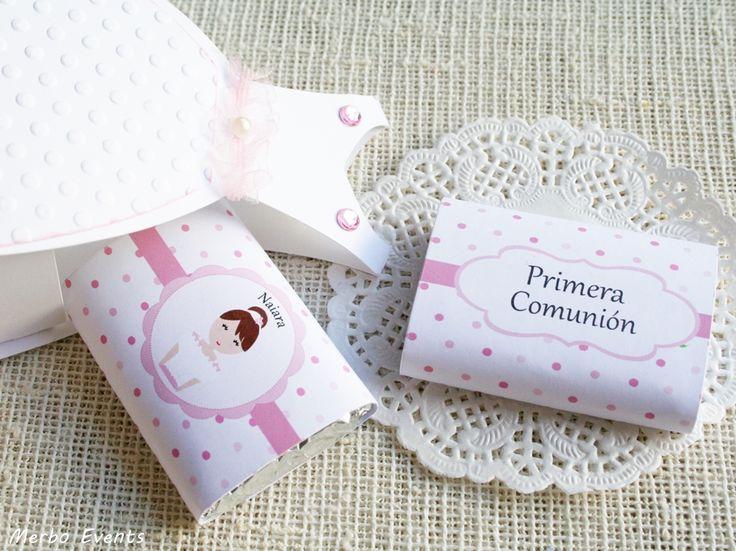 Cajas vestido con minichocolatinas Candy bar comunión niña Merbo Events