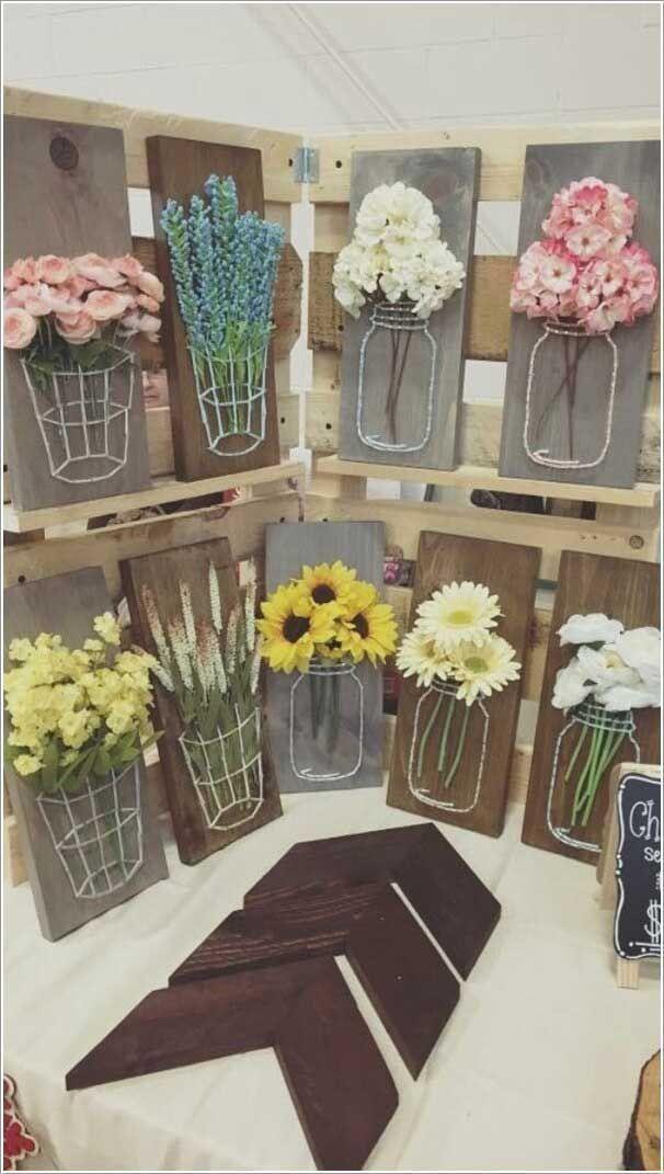 25. Basteln Sie eine Einmachglas-String-Kunst mit Holz, Garn und künstlichen Blumen. Top 27 süße