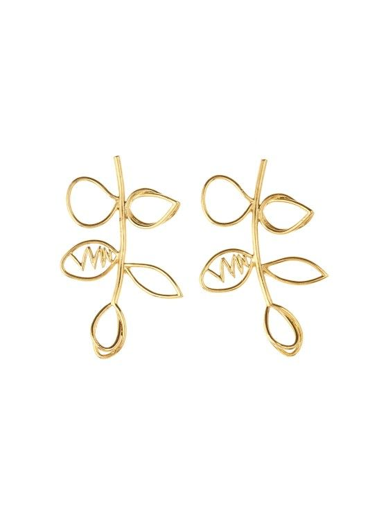 1b6a27a2b6bfa Gold Botanical Scribble Earrings | Gold | Earrings, Gold, Jewelry