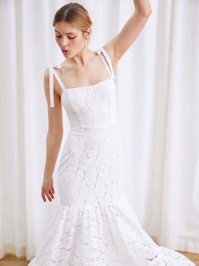 f92451acbd Reformation Dandelion Wedding Dress. This is a floor length dress with a  straight neckline