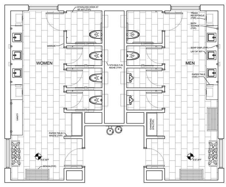 Commercial ada bathroom floor plans public restroom design for Ada bathroom design plans