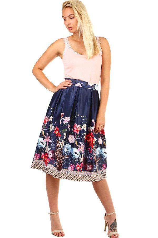 d17f4478e839 Dámská skládaná půlkolová retro sukně s květinovým potiskem - koupit online  na Glara.cz  glara  fashion  sukně  sukne