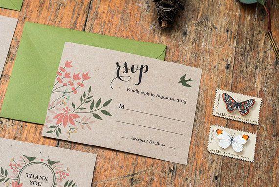 Satz von 4 Hochzeit Einladung druckbare floralen von 3EggsDesign