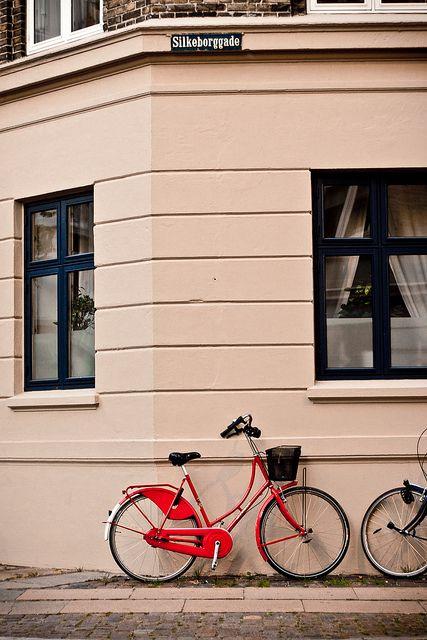 Red bike on Østerbro, Copenhagen.