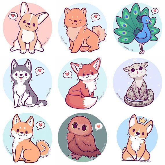 Kawaii Animals Stickers Owl Snow Leopard Shiba Fox Husky With