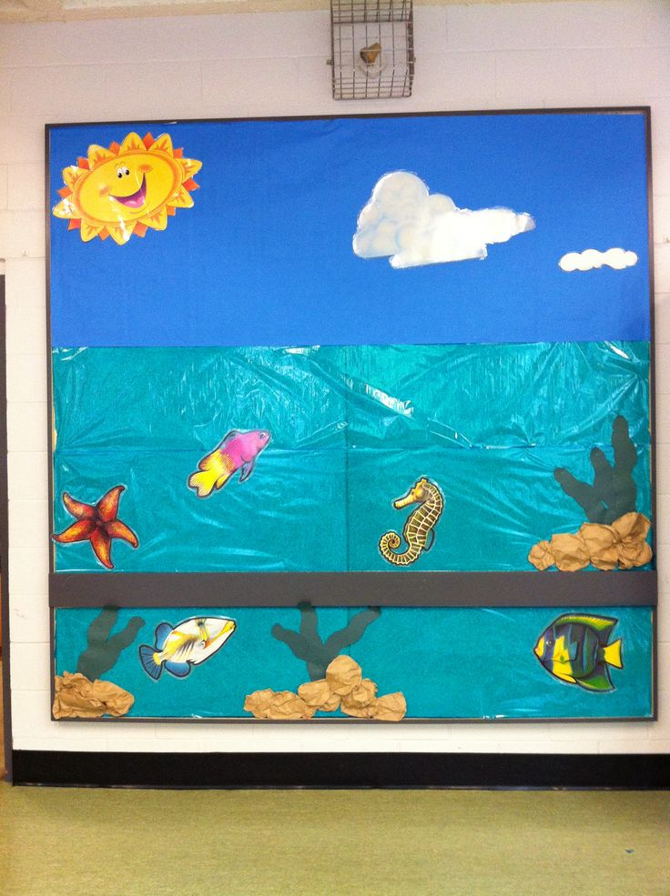 Bulletin board for summer time bulletin board wall for Preschool wall art ideas