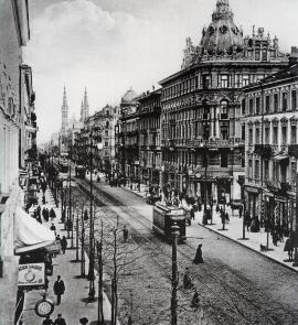 Marszałkowska Street circa 1912 – view toward Church of the Saviour. Photograph shows buildings once characteristic of central Warsaw in years past. Before World War II this main street, the city's busiest, was home to many well-known firms and banks, elegant shops, cinemas and restaurants. (Photo from A.J Ostrowski Publishing album)