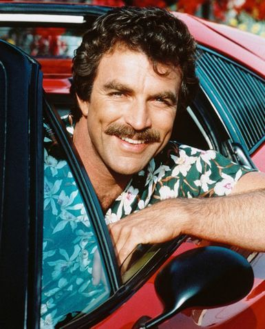 "Over on the television side, no wall of men would be complete without Tom Selleck, and specifically Tom Selleck as Thomas Sullivan Magnum from ""Magnum, P.I."" One of my favorite shows EVER, and, yes, I can still recite the plot lines of numerous episodes from memory."