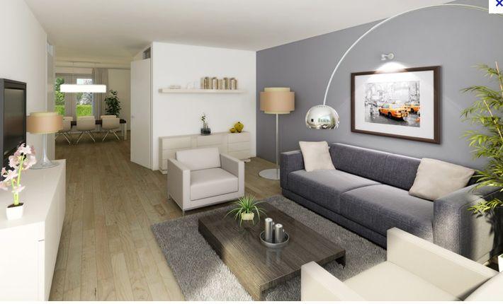 mooie grijze muur - strakke bank - plank aan muur - vloer - lovely, Deco ideeën