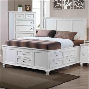 California King Transitional Panel Bed with Storage by Private Reserve - Urban Living Furniture - Captain's Bed
