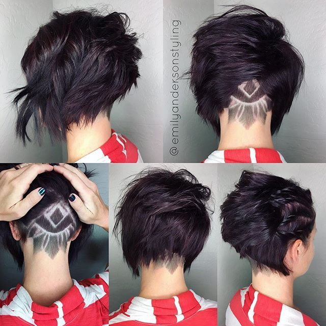 Short hair day continues with this lovely textured out undercut with a fun design. I'm still on the hunt for the best tool for hair etching. Sound off here if you have found a favorite. #emilyandersonstyling