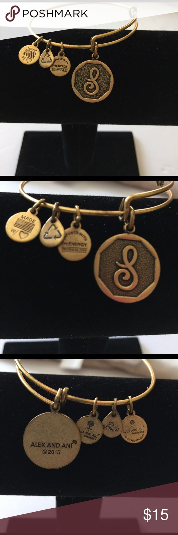 "Alex and Ani - Initial S Charm Bangle Pre owned Alex and Ani Initial S Charm Bangle. Does not come with dust bag or box.                                     The perfect addition to your charmed arm • Expandable from: 2.5"" to 3"" • Charm Dimension: 0.75"" x 0.75"" • Crafted in RAFAELIAN GOLD finish Alex & Ani Accessories"