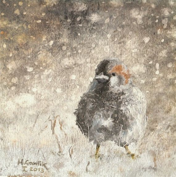 A Winter Sparrow,  Fine Art GICLEE PRINT after an original painting by Milena Gawlik