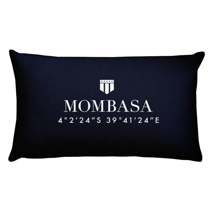 Mombasa, Africa Pillow with Coordinates
