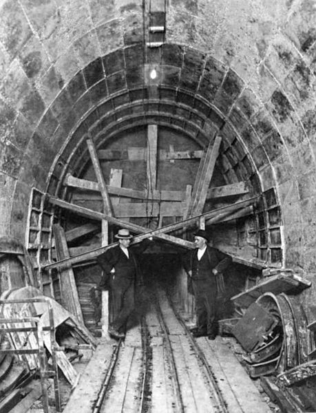 Entrance to a tunnelbelow Franklin and Washington Streets, c.1902, Chicago. The tunnel was used as a conduit for telephone and electrical w...