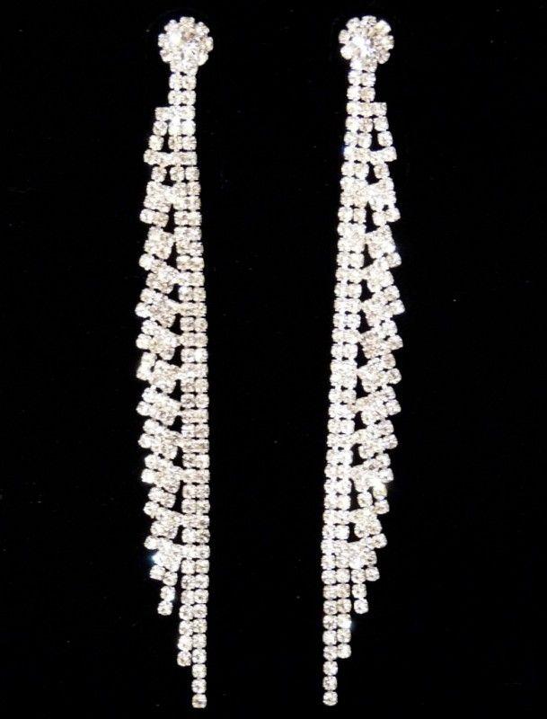 Štrasové náušnice dlouhé čtverečky 32819-2 | Bižuterie Kozák