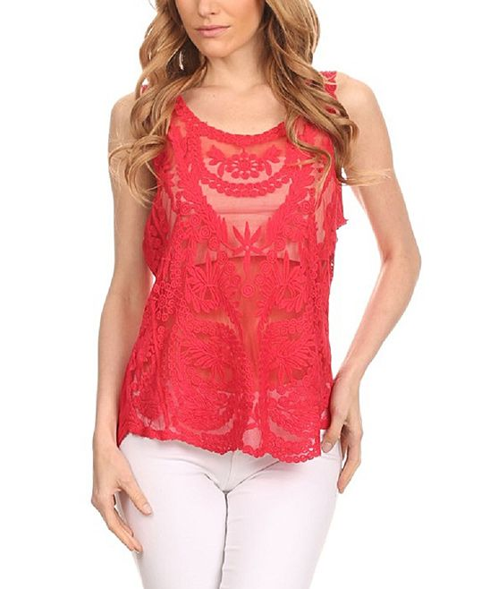 Red Lace-Accent Hi-Low Tank Top