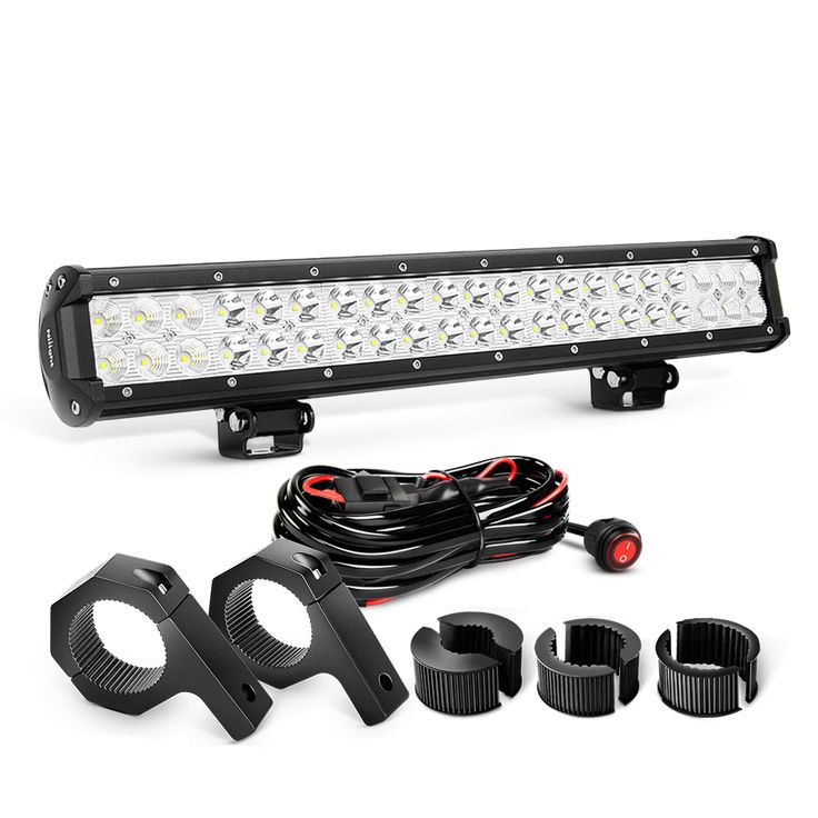 Nilight 20 Inch 126W Combo LED Light Bars & Off-Road Light Horizontal Bar Clamp Mounting Kit & Wiring Harness kit, 2 Years Warranty