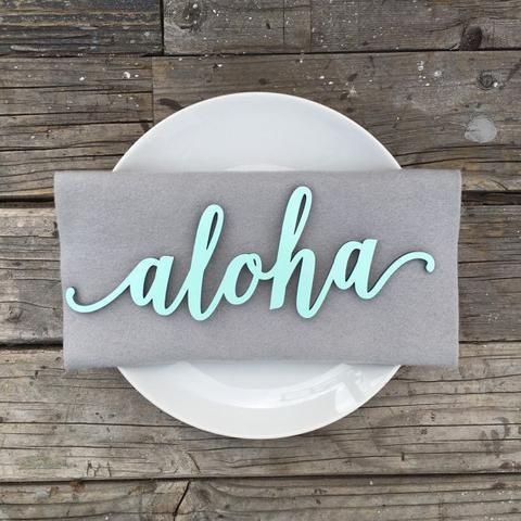 laser cut wooden aloha sign