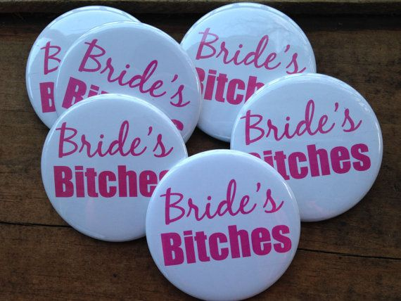 SET OF 6 Bachelorette Party Buttons - Pins, Hens Night, Final Fling, Bride's Bitches, Bridesmaid Buttons, Black, Pink, Party Kit, Favors on Etsy, $6.00