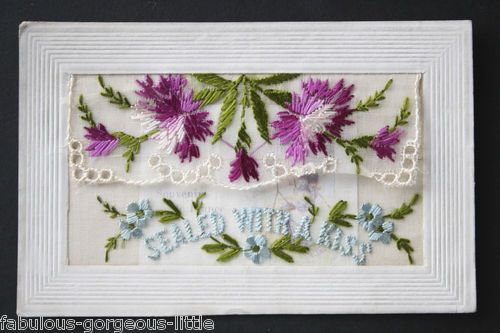 WW1 Embroidered Silk Postcard Purple Pink Blue Flowers Sealed with A Kiss | eBay