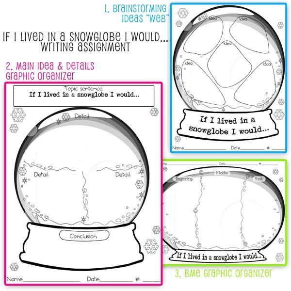 January Writing Prompt: The Graphic Organizers I made to go along with the Snowglobe Craftivity
