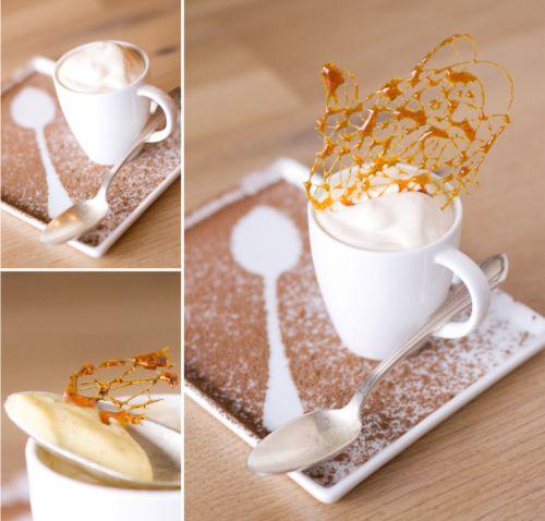 Vanilla Pots de Creme with Caramel Lace