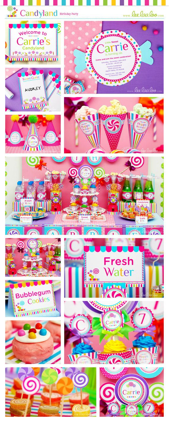 Candyland Birthday Party Package Collection Set Mega Personalized Printable Design by leelaaloo.com    #candyland #candy #sweet #rainbow #colorful #girl #birthday #party #theme #Leelaaloo