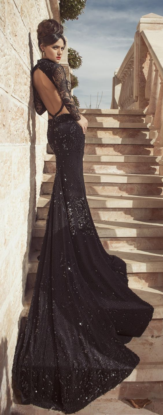 Sexy black and white wedding dresses