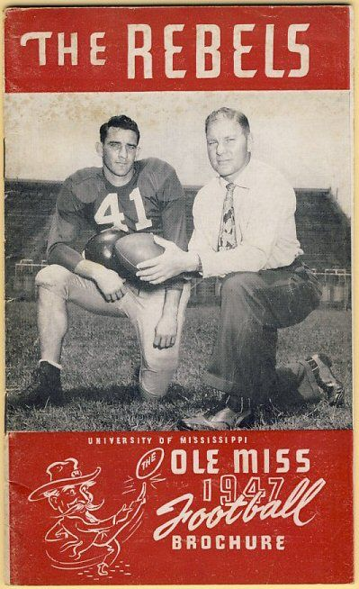 OLE MISS FOOTBALL:  Head Coach John Vaught and QB Charlie Conerly.