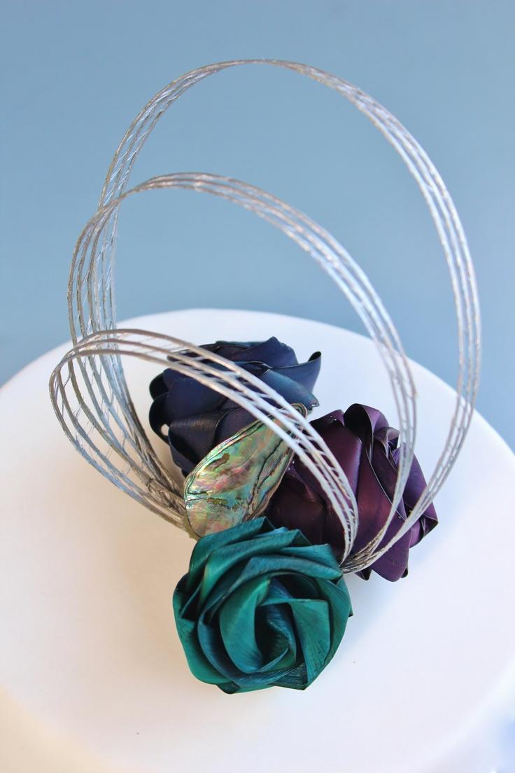Three flower Paua cake topper www.flaxation.co.nz