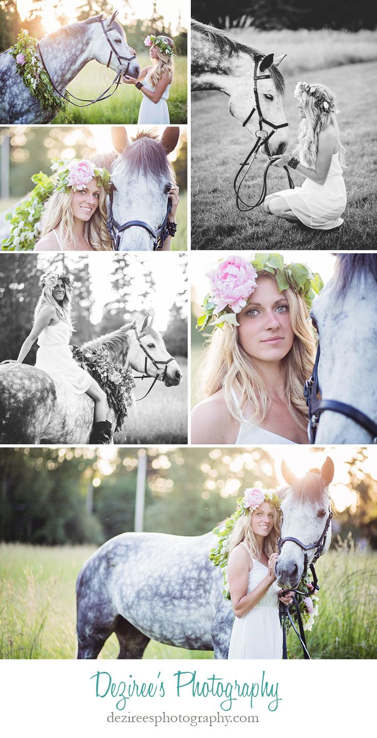Gorgeous, boho inspired photos from a summer equestrian shoot with Vinny, a grey horse, and his rider, Brittany.