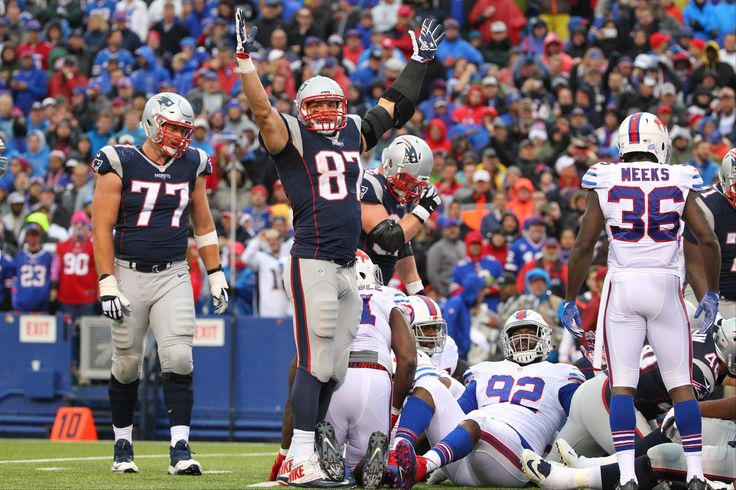Patriots vs. Bills:  October 30, 2016  -  41-25, Patriots  -    New England Patriots' Rob Gronkowski (87) celebrates after LeGarrette Blount scored a touchdown during the second half of an NFL football game against the Buffalo Bills Sunday, Oct. 30, 2016, in Orchard Park, N.Y. (AP Photo/Bill Wippert) AP, BILL WIPPERT