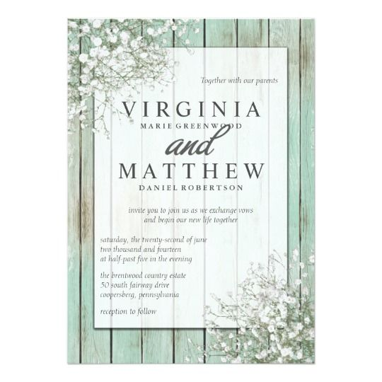The 18 best babys breath wedding invitations images on pinterest mint green rustic babys breath wedding invitation stopboris Image collections