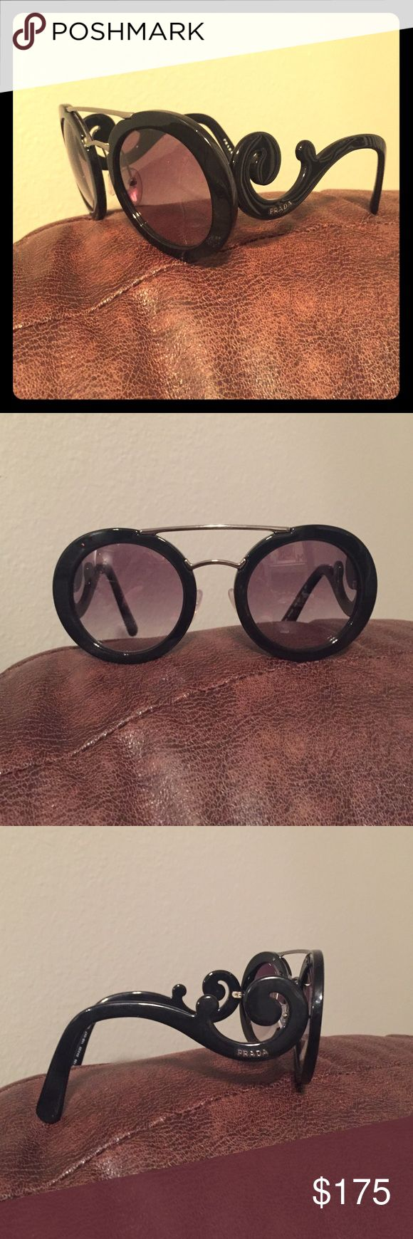 Prada Baroque Sunglasses Black Gently used Prada statement sunglasses Prada Accessories Sunglasses